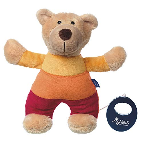 sigikid, Fille et Garçon, Peluche Musicale, Ourson, Blue Collection, Jaune/Rouge, 41835