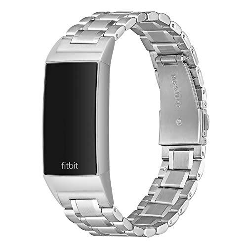 AOYU Armband Kompatibel für Fitbit Charge 3 Armband/Fitbit Charge 4 Armband,Metall Edelstahl Sport Ersatzarmband Kompatibel für Fitbit Charge 3/4/Charge 3 SE (Silber)