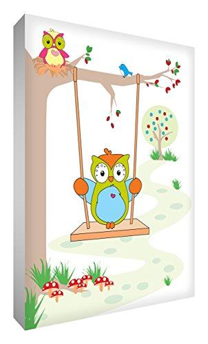 Little Helper OWL128-12G Feel Good Art Tableau en toile de lin épaisse Motif maman et bébé chouettes sur l'arbre 30 x 20 cm