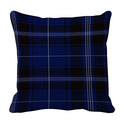 Funda de almohada de tartán negro y azul