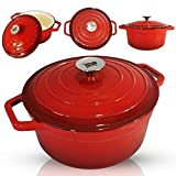CREATE RICH AND TENDER MEALS - Cook your meals to absolute perfection with our cast-iron dutch oven. With its excellent heat retention abilities and even distribution, browning meat and vegetables is easy. Enjoy cooking the most tender and juicy feas...