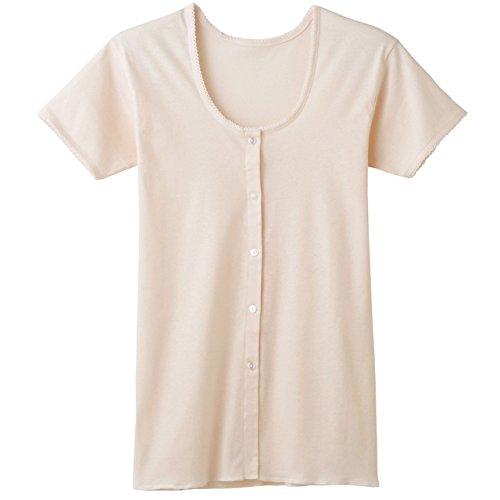 快適工房 婦人 半袖ボタン付き 前開きシャツ 2枚セット (VE)カームベージュ M kh5038-s