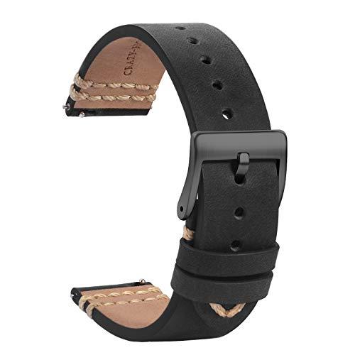 TStrap Leder Uhrenarmband 19mm - Weich Schwarz Quick Release Uhrenarmbänder Ersatz - Sport Uhrenarmband für Herren Damen - Smartwatches Armband mit Schwarz Schließe - 18mm 20mm 21mm 22mm
