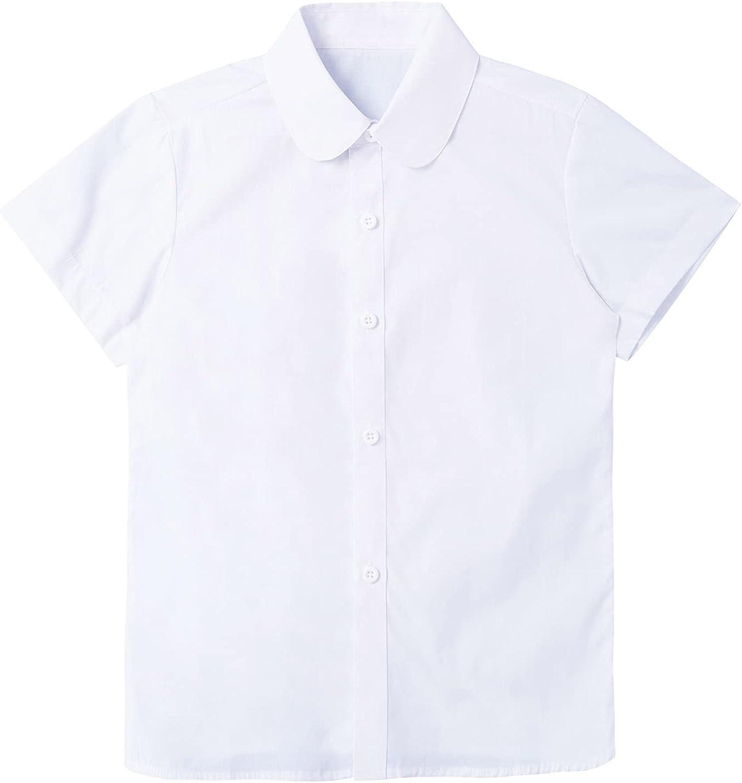 CHICTRY Kids Girls Formal Button Down Lapel Shirt Short Sleeve School Uniform Blouse
