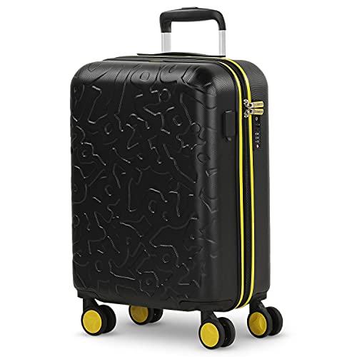 Lois - Maleta Cabina Avión 55x36x20 para Viaje con Puerto Carga USB Doble y 4 Ruedas Dobles Trolley - Maleta de Mano Avión Pequeña 10 Kg Equipaje - Trolley ABS Rígida, Cómoda y Ligera. 17, Color Negro