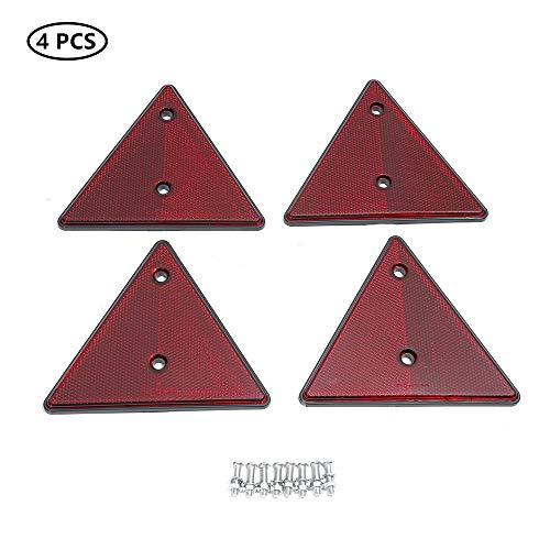 TAEUTO 4 x Catadioptrico Triángulo Rojo, Catadioptrico Triángulo Remolque Apriete de Tornillo, Reflector de luz Triangular Rojo, para Camión RV Caravana Remolque Tractor Moto Autos Catadioptrico