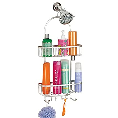 mDesign Bathroom Shower Caddy for Shampoo, Conditioner, Soap - Extra-Large, Satin
