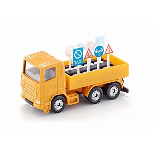 SIKU 322, Camion con Cartelli Stradali, Metallo/Plastica, Arancione, con 8 Cartelli Stradali