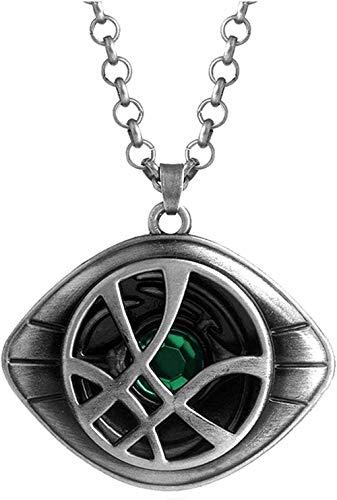 WSBDZYR Co.,ltd Collar Moda Doctor Strange Collar y Llavero El Ojo de Agamotto Amuleto Letra en la Espalda Collares Pendientes y Llavero-Collar