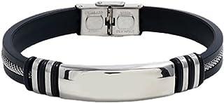 Striped Magnetic Steel Leather Bracelet, Titanium Steel Stainless Steel Jewelry Bracelet, Silicone Bracelet Fashion Gift J...