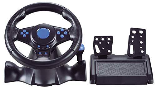 Six6 Volante, PC, computadora USB Connection Conexión con Cable de dirección, vibración de rotación de 180 Grados con Pedales Racing Juego Volante para Xbox 360 / PS3 / P2 / PC,Azul