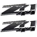 Aimoll 2pcs Z71 4x4 Emblems Badges, 3D ABS Decal Emblems Replacement for Chevy GMC Silverado (Chrome Black)