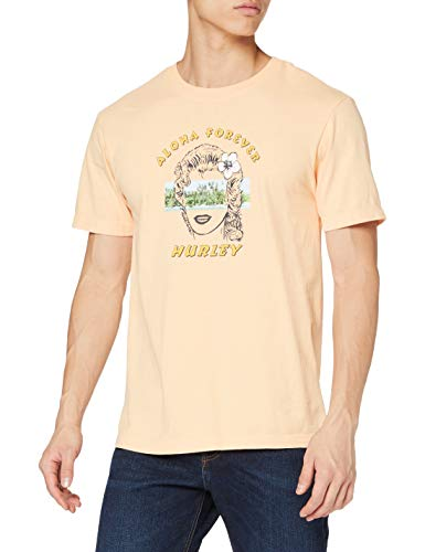 Hurley Mens M Boxy Aloha Lady S/S T-Shirt, Orange Chalk, XXL