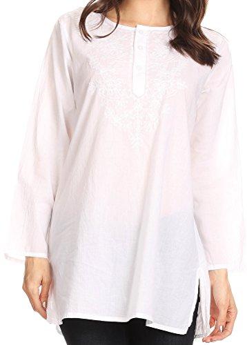 Sakkas 5295 - Ariana Langarm Button Bluse mit Blumenstickerei - Weiß - 2XL