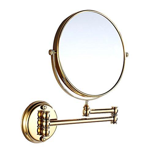MagiDeal Kosmetik-Wandspiegel Teleskop- Schminkspiegel Vergrößerungsspiegel Rasierspiegel für Badezimmer - Bad-Spiegel - Gold, 20cm