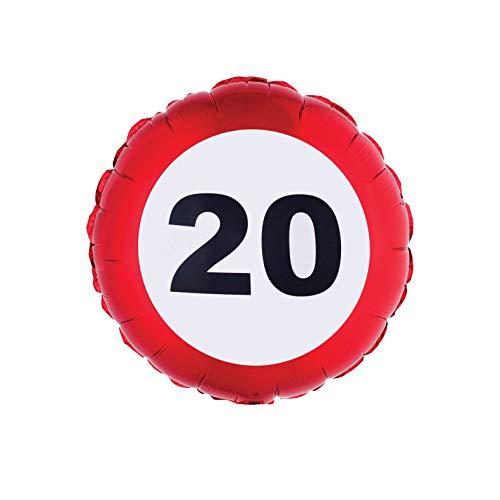 TrendClub100® Geburtstag Folien Luftballon Folienballon - Traffic Sign - Verkehrsschild Schild - Nr. 20