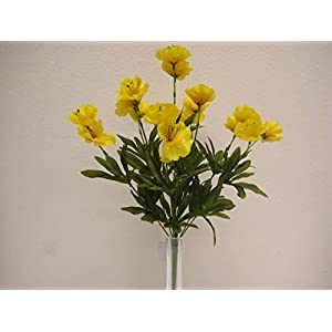 2 Bushes Yellow Poppy Artificial Silk Flowers 18″ Bouquet 9-6130YL