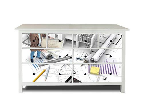 banjado Möbelaufkleber passend für IKEA Hemnes Kommode 8 Schubladen | Selbstklebende Möbelfolie | Sticker Tattoo perfekt für Wohnzimmer und Kinderzimmer | Klebefolie Motiv Bauplaner