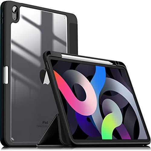 INFILAND Funda Case para iPad Air 4 Generación,iPad 10.9 Inch 2020 Cover Soporte,[Auto-Reposo/Activación Cubierta] [Trasera Transparente] [Carcasa Ligera] [Ultra Delgada Estuche],Negro