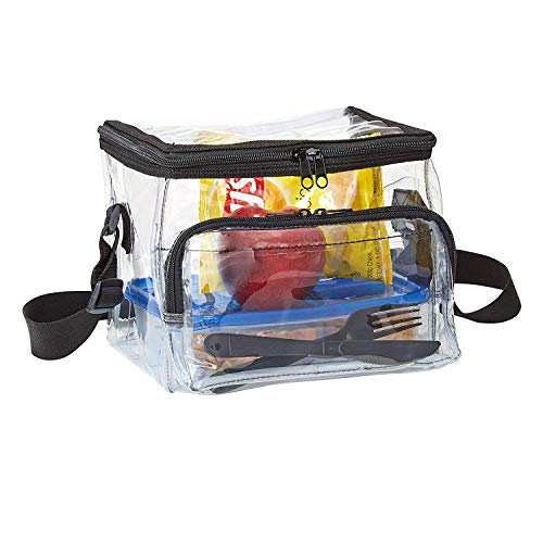 CHM Medium Clear Lunch Bag Lunch Box with Adjustable Strap and Front Storage Compartment