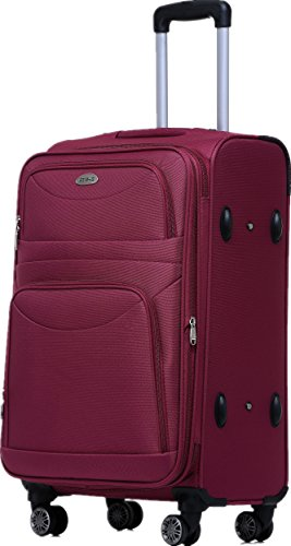 BEIBYE 8009 TSA Schloß Stoff Trolley Reisekoffer Koffer Kofferset Gepäckset (Rot, M)