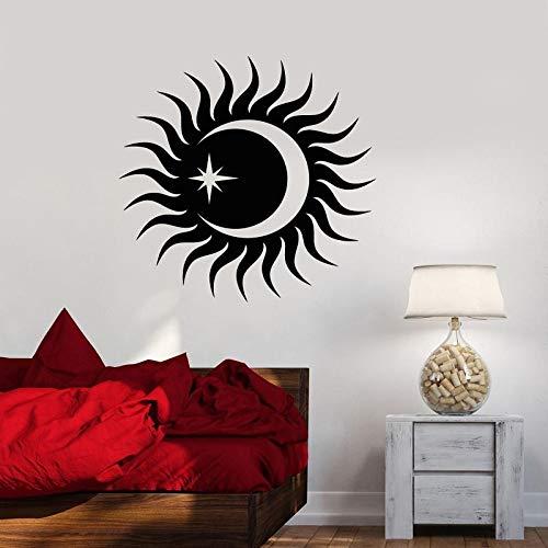 JXWH wanddecoratie van vinyl zon en maan ster slaapkamer woonkamer decoratie huis kunst muur behang