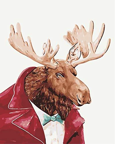 HQQK DIY Pintura por números Kits para Adultos niños Seniors Junior Pintura con Pinceles y Pinturas Decoraciones para el hogar 40x50 cm Sin Marco -Chaqueta de Cuero de Mr. Deer