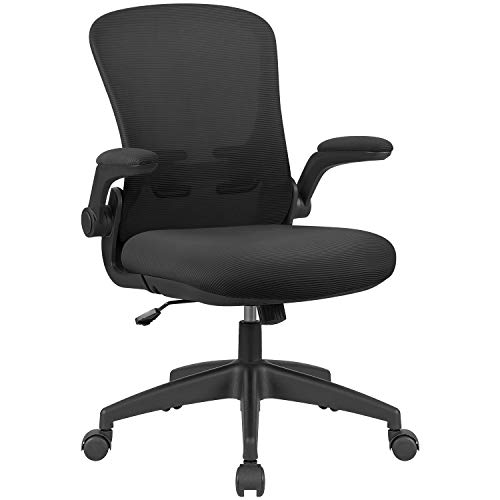 Flamaker Office Chair Mesh Ergonomic Computer Desk Chair Mid Back Swivel Rolling Chair with Flip Up Armrests Lumbar Support
