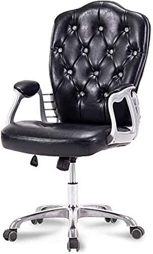 VIVOCC Silla giratoria ajustable de piel sintética blanca giratoria de 360°, con brazos y patas galvanizadas, inclinación de 35° (color negro)