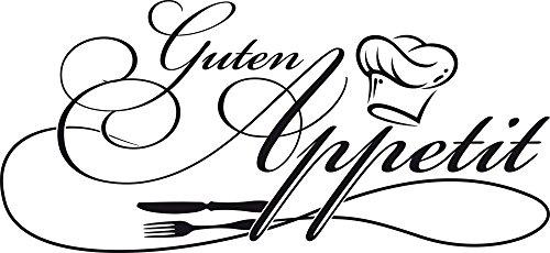 GRAZDesign Wandtattoo Küche Guten Appetit mit Kochmütze Wand-Worte für Esszimmer Restaurant (65x30cm / 070 Schwarz)