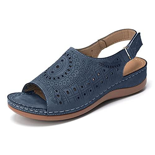 Briskorry Slippers voor dames, sleehak, schoenen, zomer, plateauslippers, comfortabele orthopedische sandalen, casual strandschoenen, wiggen, pantoffels, ademende sandalen met vismond