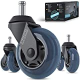 STEALTHO Patented Replacement Office Chair Caster Wheels Set of 5 - Protect Your Floor - Quick & Quiet Rolling Over Cables - No More Chair Mat Needed - Blue Polyurethane - Standard Stem 7/16 inch