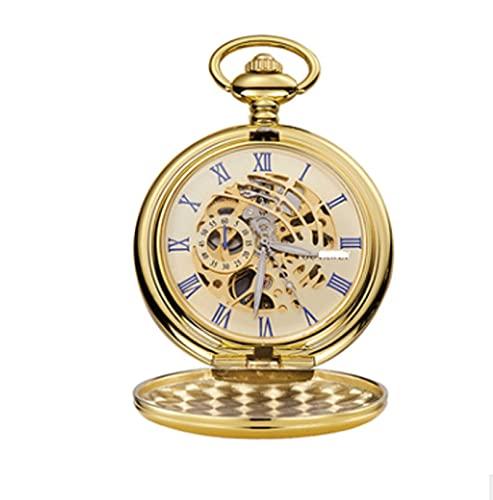 XIXIDIAN Reloj de bolsillo Unisex Manual Bobinado Mecánico de bolsillo Perspectiva Retro Perspectiva Reserva de la cubierta inferior Proporciona un tiempo preciso y preciso Números romanos de la vendi