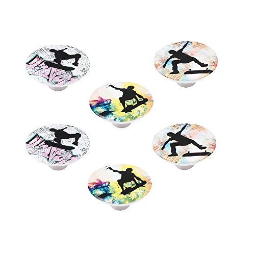 POMOLINE 6 Un. Tirador Pomo Mueble Infantil Resina ABS serigrafia Skate para - Diámetro 50MM