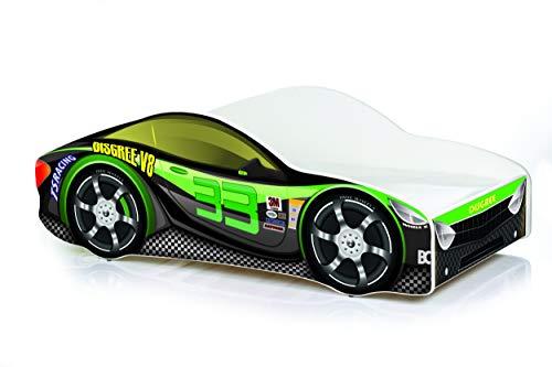 Cama infantil coche de carreras + somier (barandas) + colchón de espuma con cubierta 140x70 cm 160x80 cm 180x80 cm (160x80 cm (untill 8 jears), 9.Black Green)