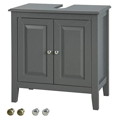 SoBuy FRG202-DG Waschbeckenunterschrank Badmöbel Badschrank Waschtisch Unterschrank Dunkelgrau BHT ca: 60x62x30cm