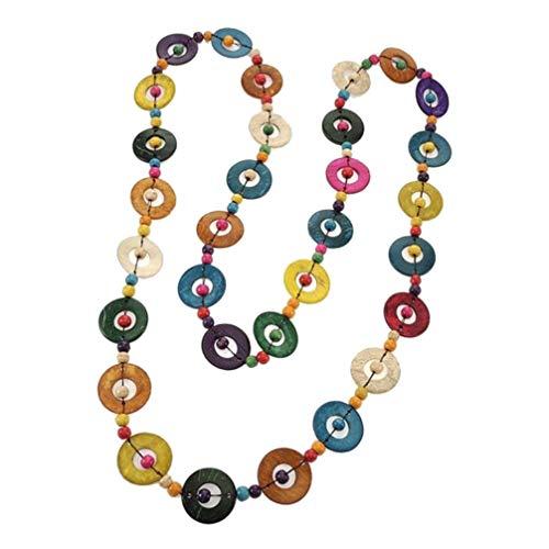 ifundom Collar de Cuentas de Madera de Concha de Coco Bohemio para Mujeres Y Niñas Joyería Étnica con Cuentas Collar Largo Colorido