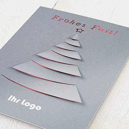 sendmoments Firmen-Weihnachtskarten im Set mit Veredelung in Rot, Weihnachtsbaum, personalisiert mit Ihrem Firmenlogo & -Text, 12 Klappkarten, optional mit bedruckten Design-Umschlägen