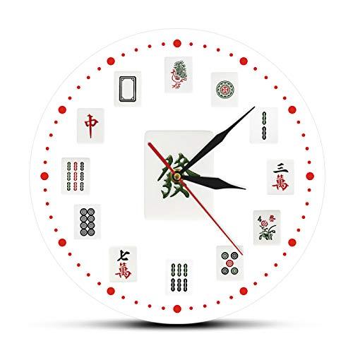 yage Reloj de Pared Decorativo de Arte Mahjong, Azulejos Chinos de Mahjong, Reloj de Pared acrílico Impreso Moderno, torneos, decoración de Sala de Juegos para Fiestas