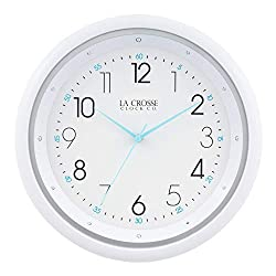 La Crosse Technology 404-4525 10 Inch Night Vision Quartz Wall Clock, White