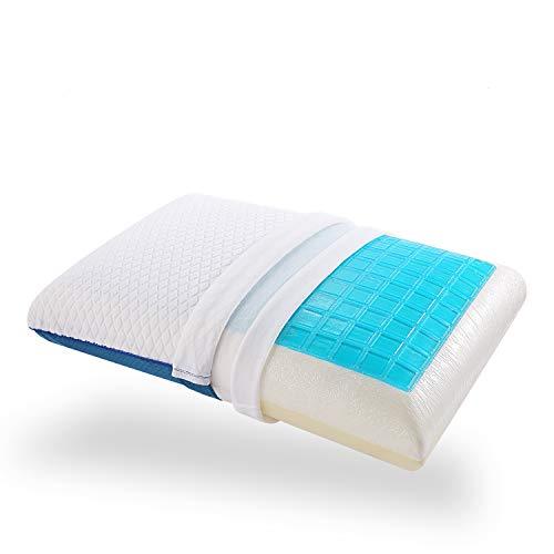 Nesaila Almohada de espuma viscoelástica, almohada de gel de refrigeración para dormir boca abajo, funda de almohada extraíble lavable (azul blanco)