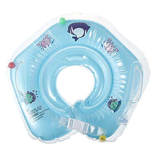 Salvagente Collo Neonato, Anello di Nuoto Bambini,Bambino Salvagente,Regolabile Galleggiante Gonfiabile del Collo di Nuoto dell'infante per 0-18 Mesi Baby (Blu)
