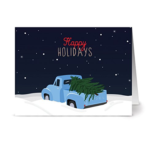 Christmas Cards 36 Pack – Happy Holiday Pickup – Unique Holiday Design – KRAFT ENVELOPES INCLUDED – Blank Greeting Card – Glossy Cover Blank Inside – By Note Card Café…