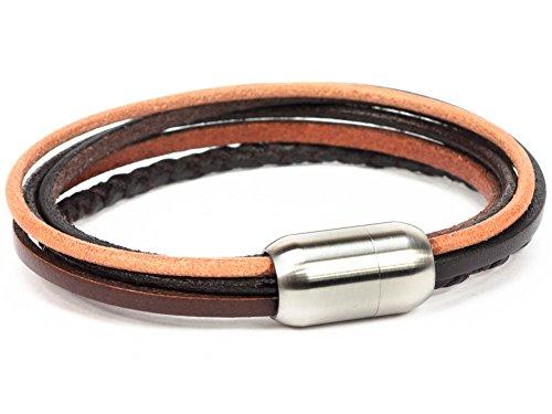 SIMARU Herren Lederarmband – Männer Armband aus pflanzlich gegerbten Lederriemen mit Edelstahl Magnet Verschluss – Made in Germany (braun (Größe XL))