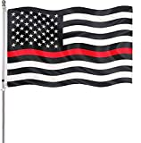 Thin Red Line Flag (3x5 Ft) Outdoor - American Black White Red Stripes Honoring Firefighter Flags Banner Durable Polyester - Red Lives Matter Firemen USA Flag Lightweight with 2 Brass Grommets