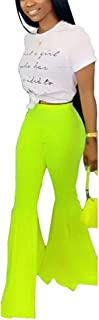 Prettyol Womens Sexy Ruffle Solid Hippie Bell Bottom Flare Palazzo Long Pants Stretchy Cocktail Trousers Clubwear