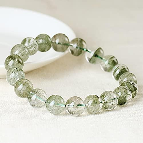 Feng Shui Lucky Wealth Green 4A / 5A Pulsera Phantom Natural Phantom Crystal Reiki Healing Chakra Meditación Crystal Bracelet para la protección Buena Fortuna,4a,9mm