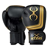 STING Orion Premium Competition Boxing Gloves – Black/Gold, 16 oz