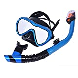 LBAFS Scuba Snorkel Set Full-Dry Scuba Diving Mask para Adultos Easy Breathe Anti-Niebla Anti-Leak Snorkeling Gear Gafas,Blue
