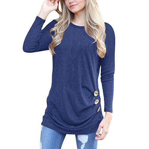 OVERDOSE Frauen Solide Shirt Langarm Botton Falten Bluse Lässig O Neck Casual Tops Plus Größe(XL,A-Navy)